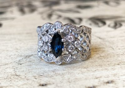 Vintage Net Collection [marquise cut] Sapphire Center Stone