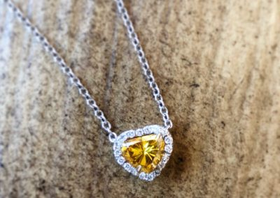 Yellow Diamond Halo Pendant